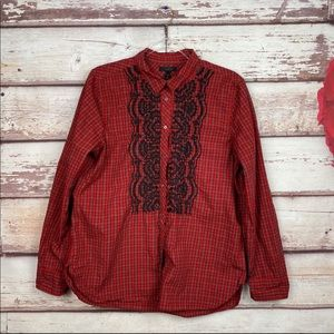 J Crew Boy shirt embellished plaid boy Fiery red